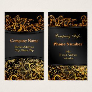 Business Card Floral Doodle Gold G523
