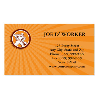 Business card Foundry Worker Holding Ladle Circle