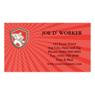 Business card Foundry Worker Holding Ladle Retro