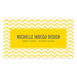 BUSINESS CARD fresh chevron pattern yellow grey