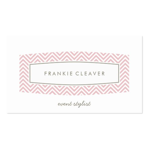BUSINESS CARD fresh chevron patterned panel pink
