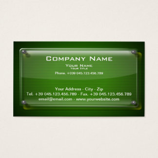 Business Card Glass Framework on Green Background