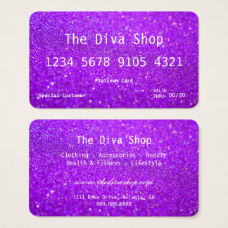Business Card | Glitter Credit Card Purple