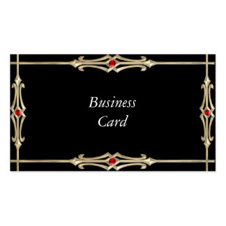 Business Card Gold & Red Jewels on Very Black