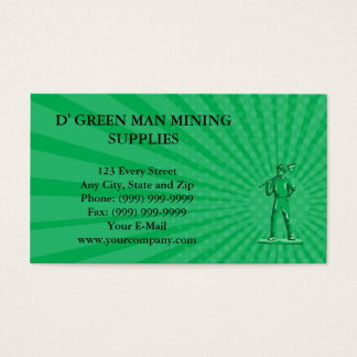 Business card Green Miner Holding Shovel Retro