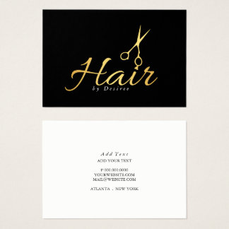 Business Card - Hair Stylist Golden Scissors