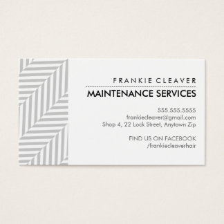 BUSINESS CARD herringbone pattern black grey