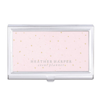 Business Card Holder - Dots Gold Pink