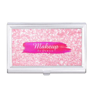 Business Card Holder - Makeup Glitter Pink