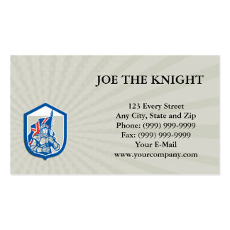 Business card Knight Holding British Flag Shield R