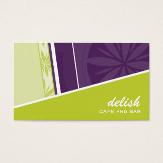 BUSINESS CARD modern funky angle lime purple