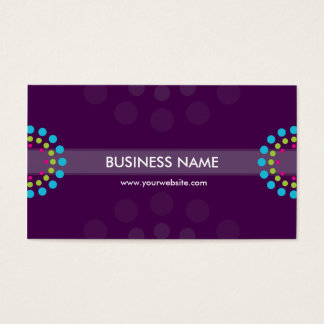 BUSINESS CARD modern retro spot purple aqua lime
