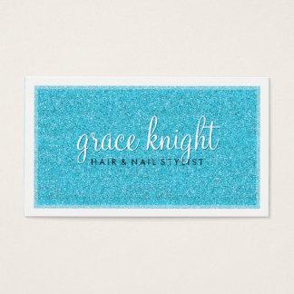 BUSINESS CARD modern simple glitter aqua blue