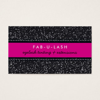 BUSINESS CARD modern trendy glitter hot pink black