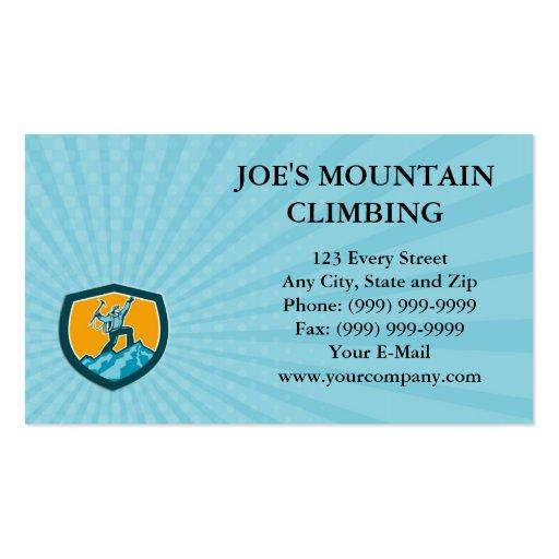 Business Card Mountain Climber Reaching Summit Ret