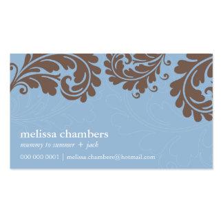 BUSINESS CARD pretty bold flourish blue brown