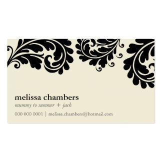 BUSINESS CARD pretty bold flourish cream black