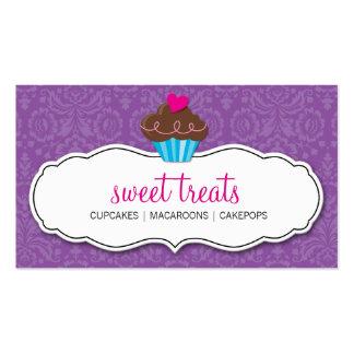 BUSINESS CARD pretty damask cupcake purple pink