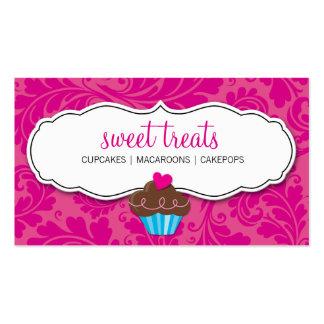 BUSINESS CARD pretty flourish cupcake hot pink