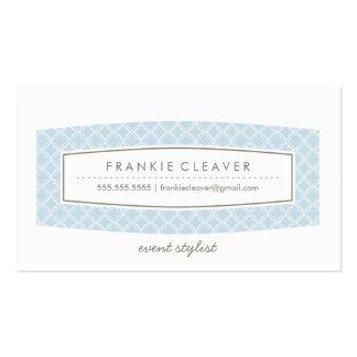 BUSINESS CARD quatrefoil pattern panel pastel blue
