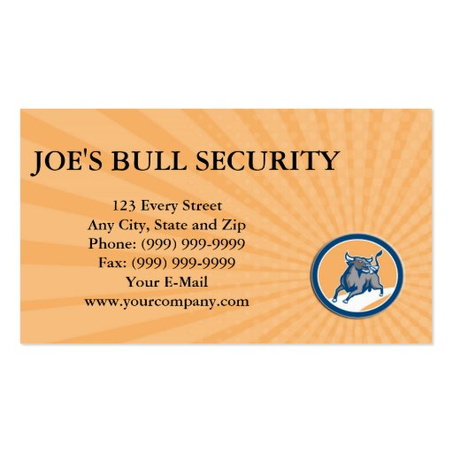 Business card Raging Bull Attacking Charging Circl