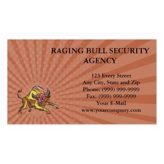 Business card Raging Bull Charging Drawing