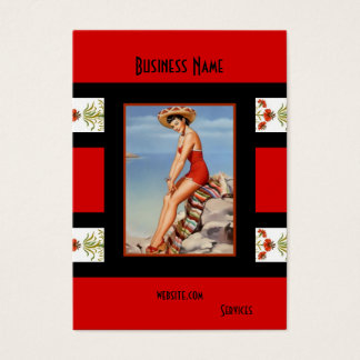 Business Card Red Black Pin up Girl Vintage retro