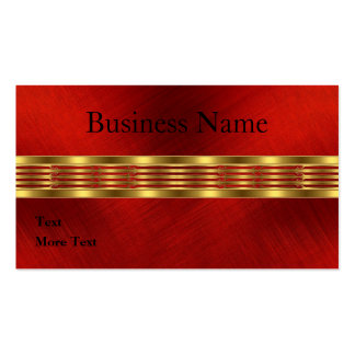 Business Card Red Fabric Frayed Gold Trim Business Card