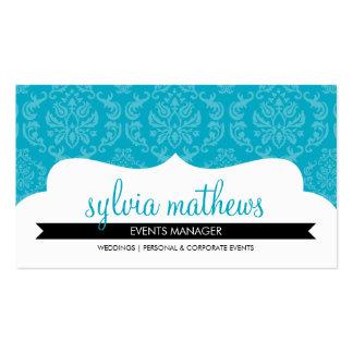 BUSINESS CARD stylish damask pattern aqua blue