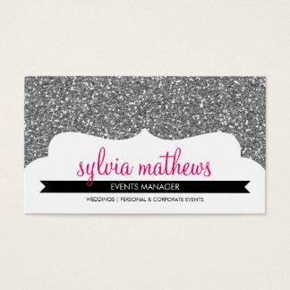BUSINESS CARD stylish glitter sparkle silver pink