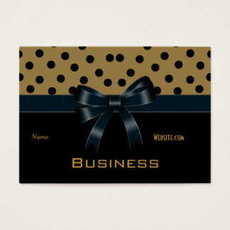 Business Card Tan Black Spots Bows