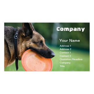 business card template Dog With Flying Disc
