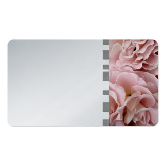 business card template rose petals on silver paper