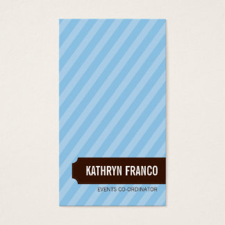 BUSINESS CARD trendy bold candy stripe pale blue