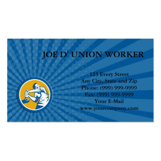 Business card Union Worker Strike With Sledgehamme