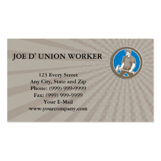Business card Union Worker With Sledgehammer Circl