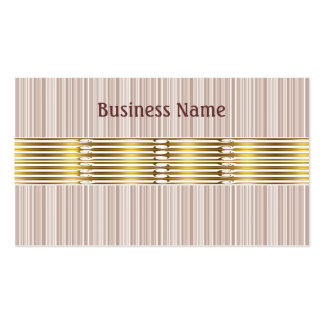 Business Card White & Brown Stripes Gold Trim Business Card Template