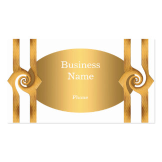 Business Card White & Gold Rosette Trim Business Card Template