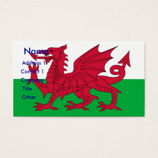 Business Card with Flag of Wales