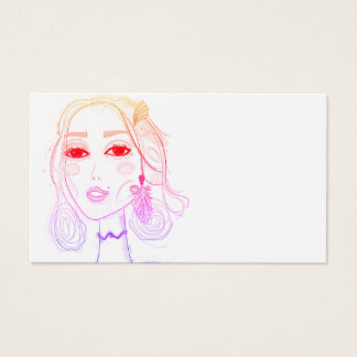 Business card with hand drawn girl