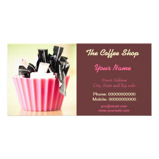 Business Card With Modern Art For Coffee Shop etc Customized Photo Card
