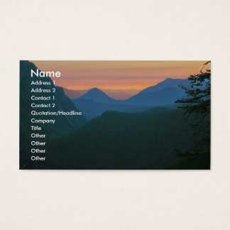 Business card with mountain sunset background