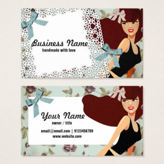 business card - woman, fashion, girl, hair bow