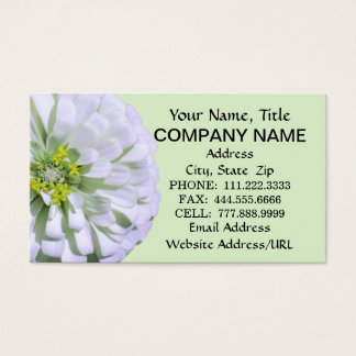 Business Cards - Lemony White Zinnia