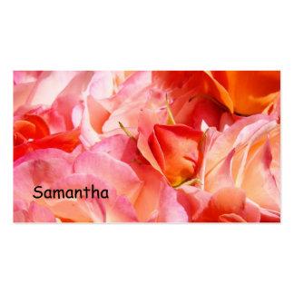 Business Cards Pink Orange Rose Flowers Roses