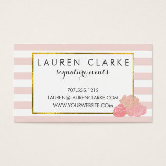 Business Cards | Pink Stripe & Blush Peony