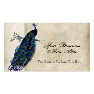 Business Cards - Teal Vintage Peacock 8 Etchings
