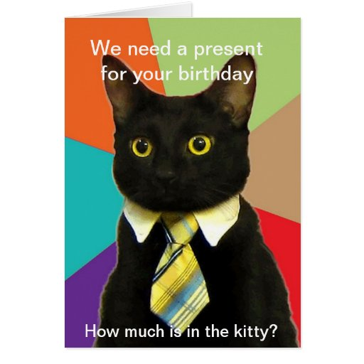 Business Cat birthday card
