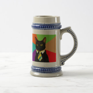 business cat - black cat beer stein