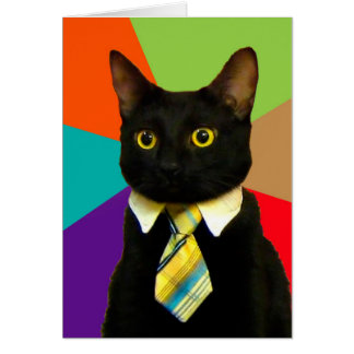 business cat - black cat card